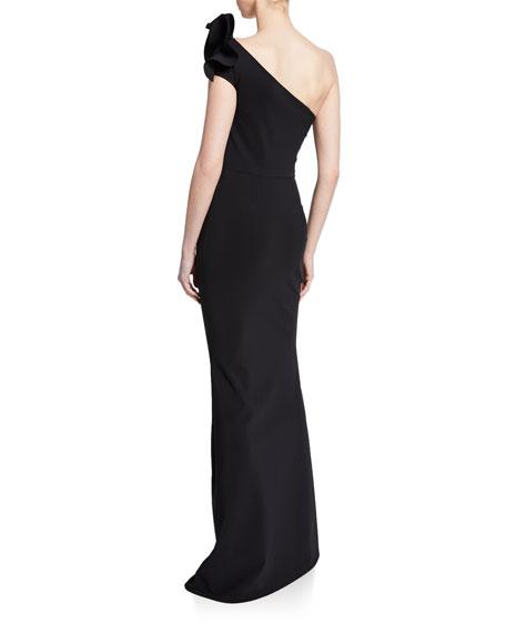 Chiara Boni La Petite Robe Adrina One-Shoulder Asymmetric Shoulder-Ruffle Column Gown