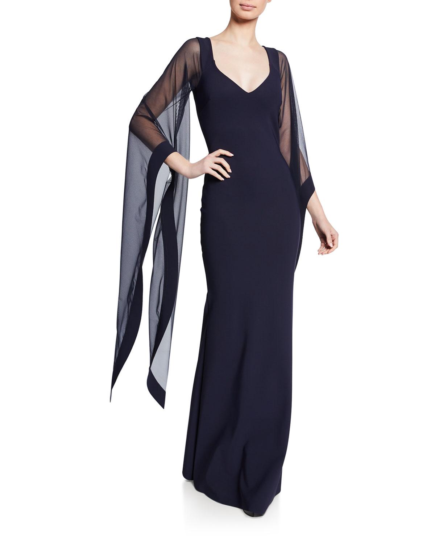 b8c01c950c5 Chiara Boni La Petite Robe V-Neck Cape-Illusion Sheer-Sleeve Gown ...