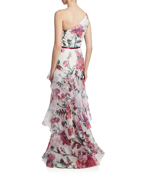 Marchesa Notte Floral Organza One-Shoulder Sleeveless Gown w/ Cascading Ruffle Trim
