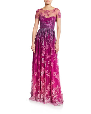 5f928ee512 Marchesa Notte Ombre Metallic Embroidered Short-Sleeve Illusion Gown with  Open-Back
