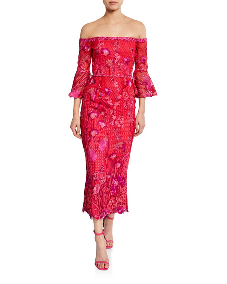 Marchesa Notte Floral Embroidered Lace Off-the-Shoulder Tea-Length Dress