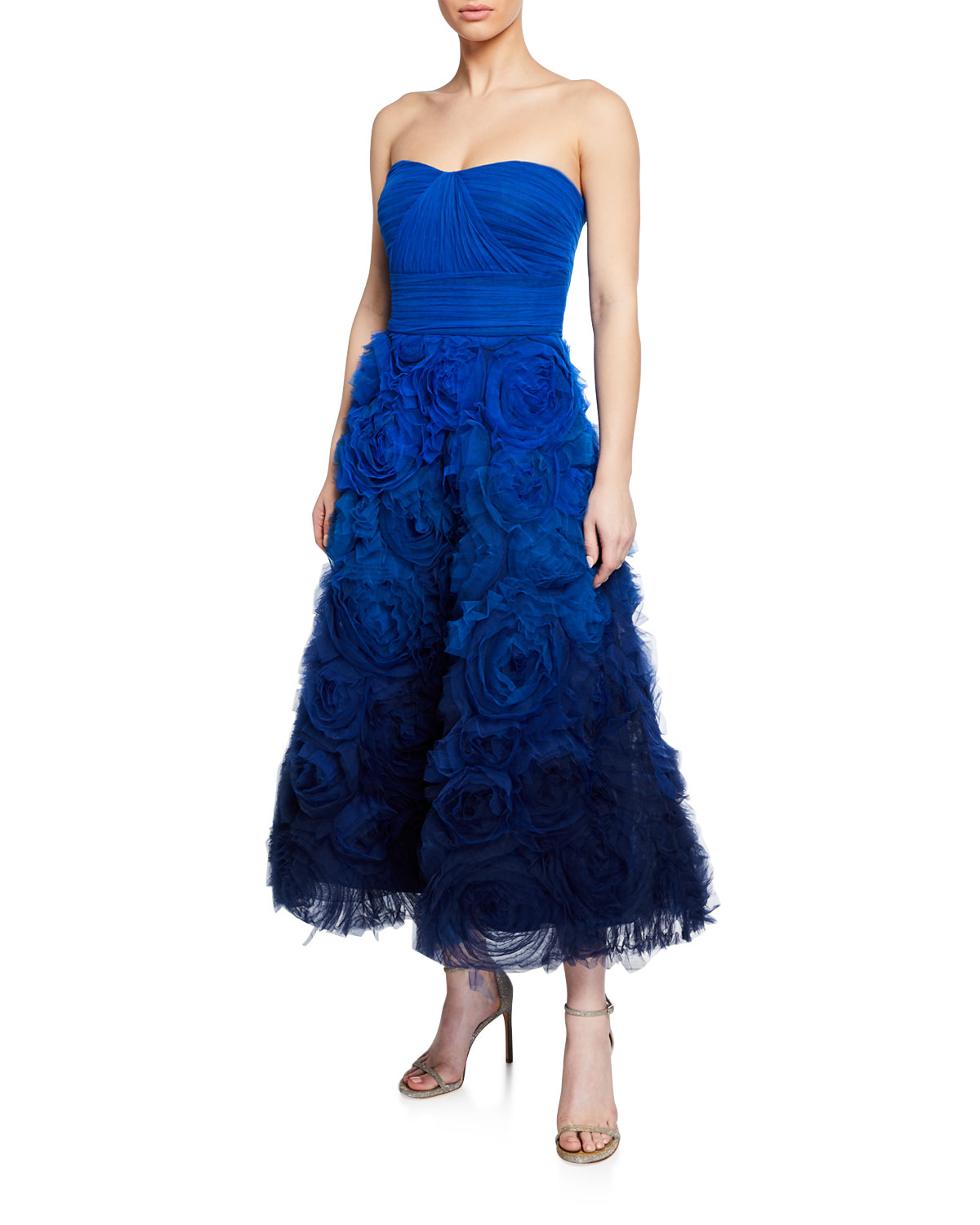 99c04205 Marchesa Notte Ombre Strapless Textured Tulle Gown with Draped Bodice