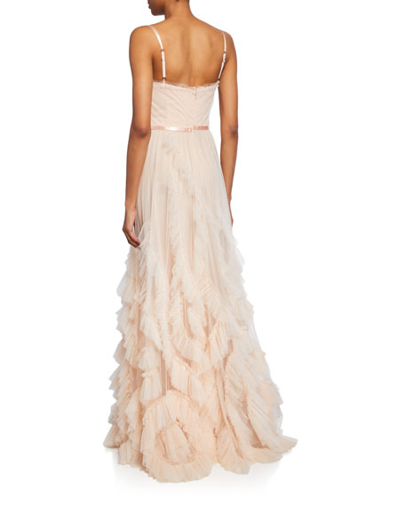Marchesa Notte V-Neck Sleeveless Textured Tulle Gown w/ Cascading Ruffles & Lace