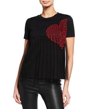 b36c650d07f REDValentino Crewneck Short-Sleeve Tee w  Point D Esprit Heart Print Overlay