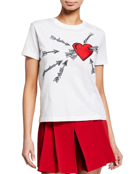 REDValentino Heart & Arrows Embroidered Short-Sleeve Cotton Tee
