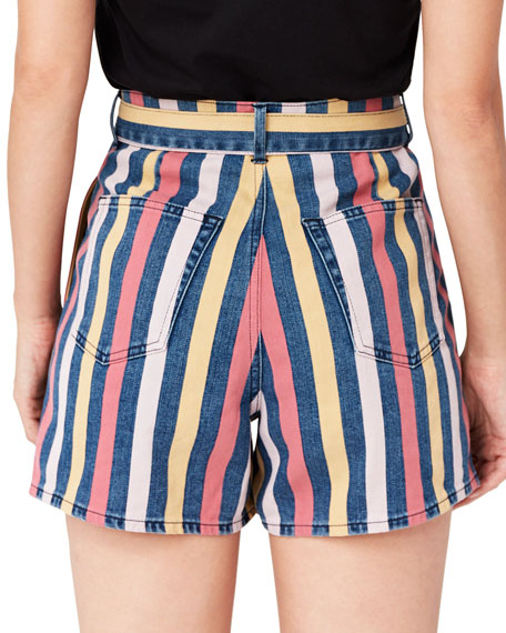 Image 2 of 2: 3x1 Flaunt Striped Belted Shorts