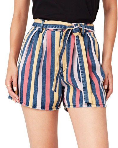 Flaunt Striped Belted Shorts