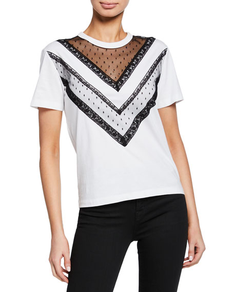 REDValentino Short-Sleeve Cotton Tee with Lace Trim
