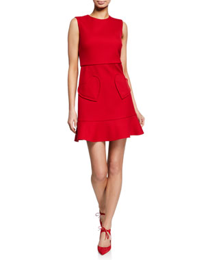6399bd15d86 REDValentino Sleeveless Ruffle-Bottom Dress with Heart Pockets