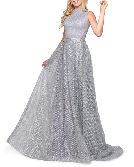 Mac Duggal Mock-Neck Sleeveless Metallic Lattice Gown