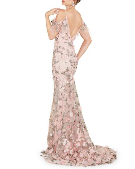 Mac Duggal Off-the-Shoulder Flower-Embellished Sweetheart Gown
