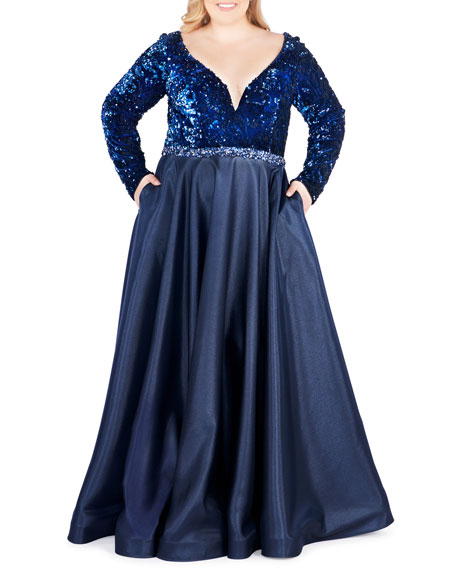 Mac Duggal Plus Size Sequined-Bodice Velvet V-Neck Gown