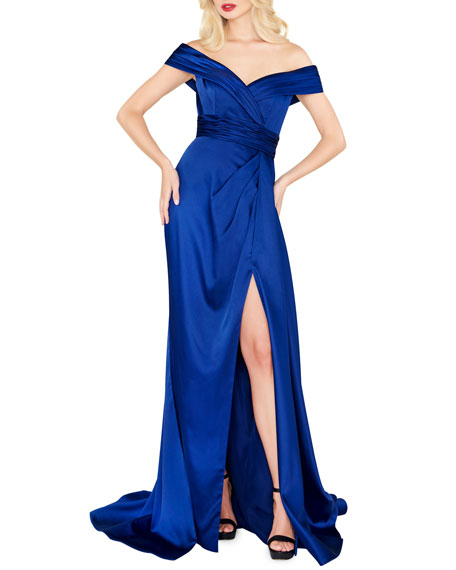 Mac Duggal Off-the-Shoulder Draped Satin Gown