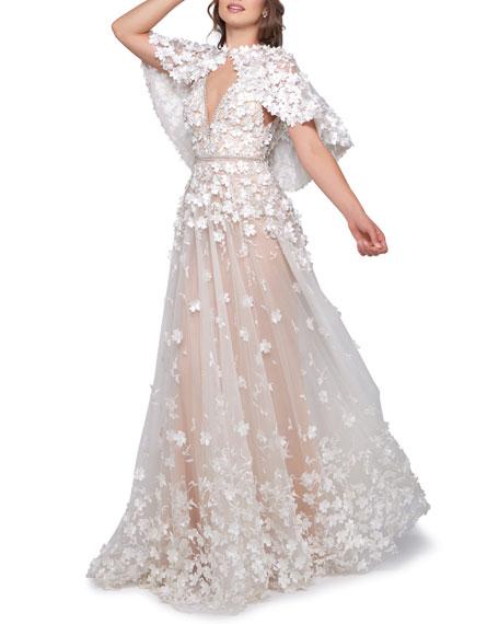 Mac Duggal Floral-Applique Empire-Waist Gown with Detachable Capelet