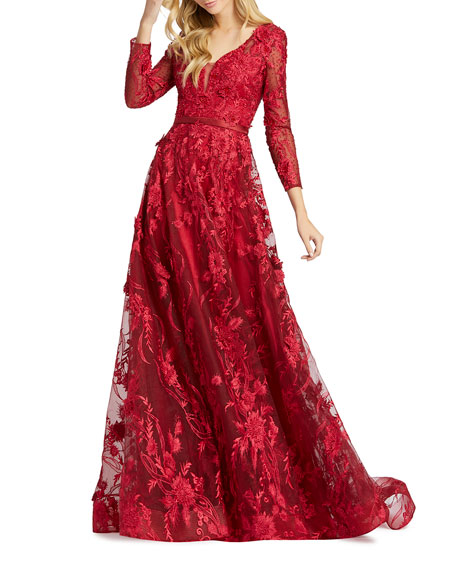 Mac Duggal Long-Sleeve Floral Embroidered Gown