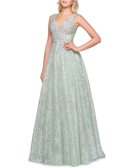 Mac Duggal Sleeveless Beaded Plunging V-Neck Gown
