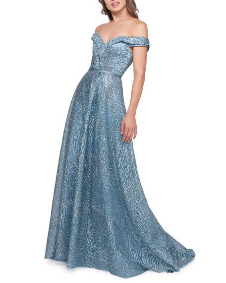Mac Duggal Off-the-Shoulder Rhinestone Gown