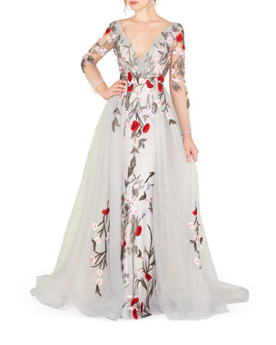 d554fb477856 Mac Duggal Floral Embroidered Long-Sleeve Plunging Neck Gown