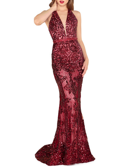 Mac Duggal Sequin Lace Halter Gown