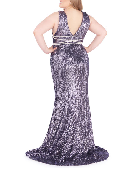 Mac Duggal Plus Size Sequined V-Neck Column Gown