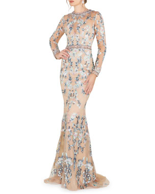 4d704efd59b Mac Duggal Long-Sleeve Floral Lace Jewel-Neck Gown