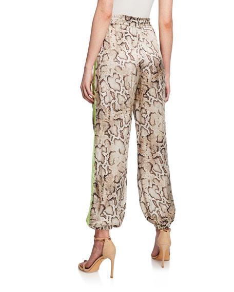 PINKO Leda Snake-Print Jogger Pants w/ Lace