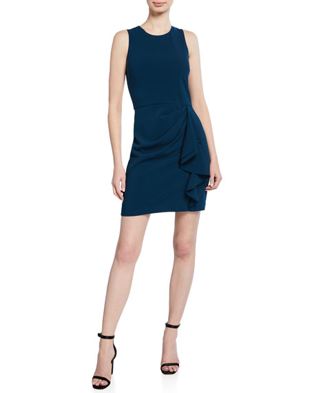 Parker Black Tanya Sleeveless Mini Dress with Side Ruffle Detail
