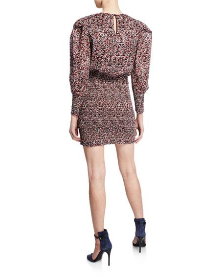 Rebecca Minkoff Tabby Printed Puff-Sleeve Smocked Dress