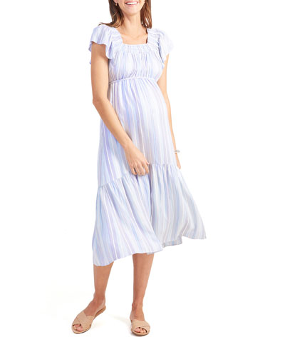 Maternity Striped Flutter-Sleeve Tiered Dress