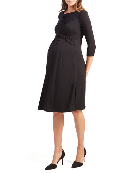 Ingrid & Isabel Maternity 3/4-Sleeve Draped Dress