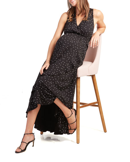 Ingrid & Isabel Maternity Polka-Dot Racerback Ruffle Skirt Maxi Dress