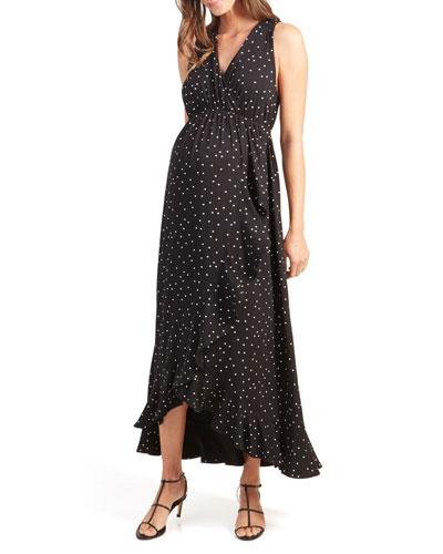 Maternity Polka-Dot Racerback Ruffle Skirt Maxi Dress