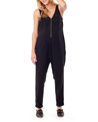 Maternity Zip-Front Sleeveless Jumpsuit
