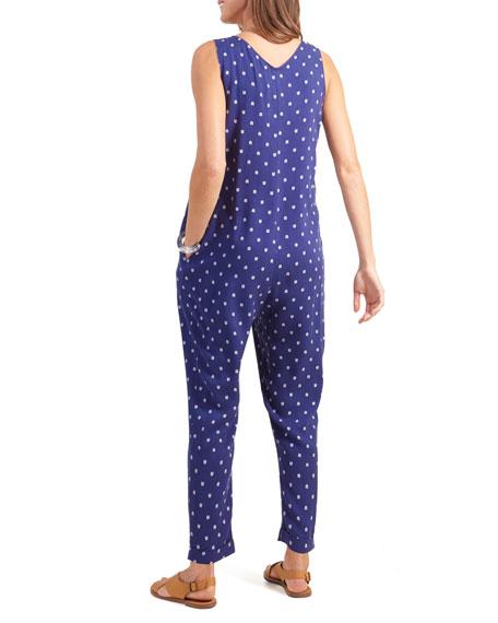Ingrid & Isabel Maternity Arrow-Print Zip-Front Sleeveless Jumpsuit