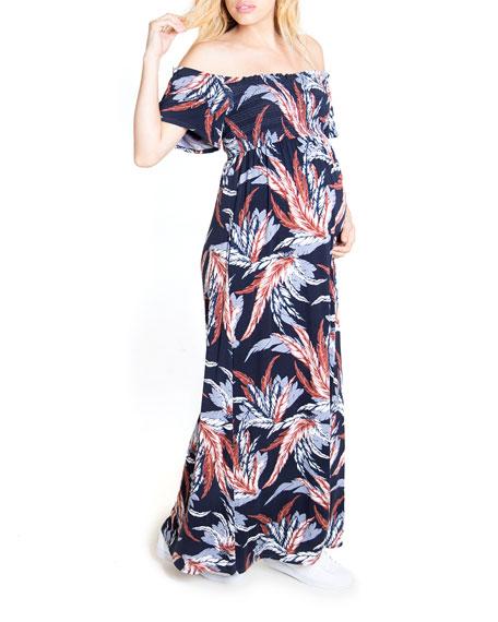 Ingrid & Isabel Maternity Floral-Print Off-the-Shoulder Smocked Maxi Dress