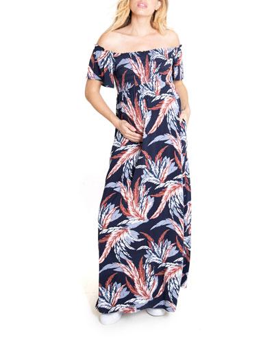 Maternity Floral-Print Off-the-Shoulder Smocked Maxi Dress