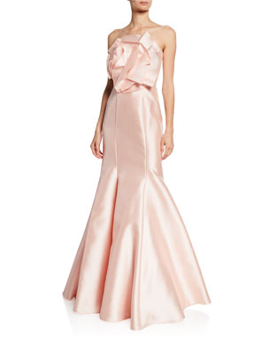 d1bf5ad0 Badgley Mischka Collection Strapless Mikado Mermaid Gown w/ Origami Flower  Detail