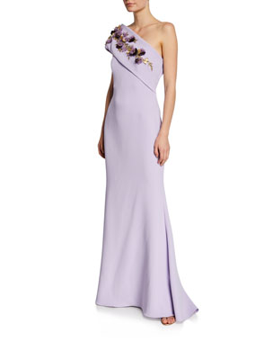 872a814f22c Badgley Mischka Collection One-Shoulder Gown w  Embellished Flower Sash  Detail