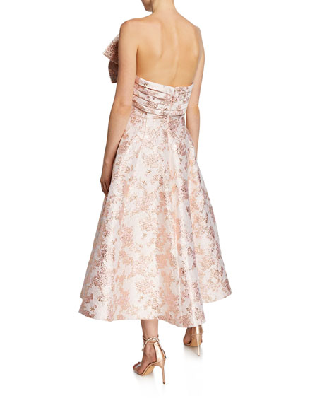 Badgley Mischka Collection Ballerina Bow Strapless Jacquard Cocktail Dress