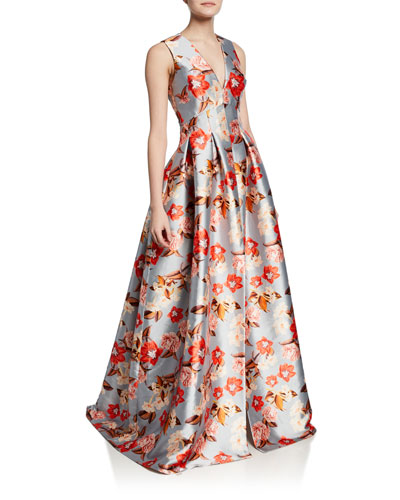 Brooke Floral-Print V-Neck Sleeveless Gown