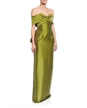 7deefccb171 Sachin   Babi Jennifer Off-the-Shoulder Sweetheart Short-Sleeve Column Gown