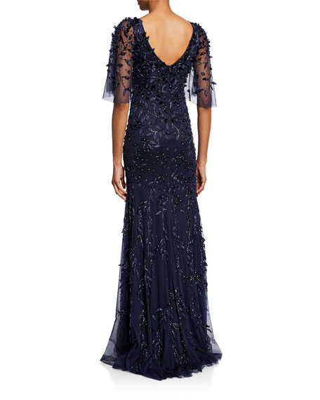 Theia Beaded V-Neck Half-Sleeve Gown