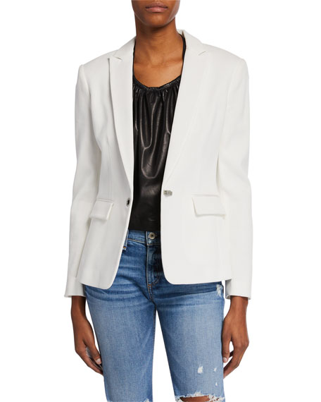 Rag & Bone Lexington Hook-Front Pique Blazer