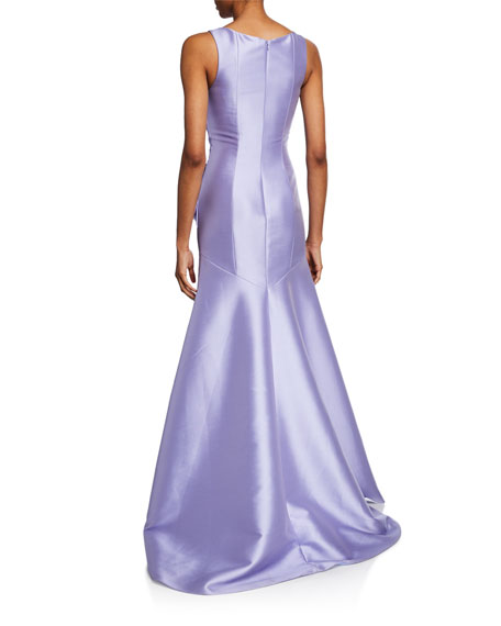 Theia V-Neck Sleeveless A-Line Gown w/ Bow & Wrapped Bodice