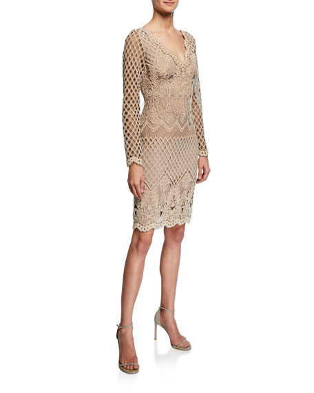 Tadashi Shoji Art Deco Corded Lace Long Sleeve Dress