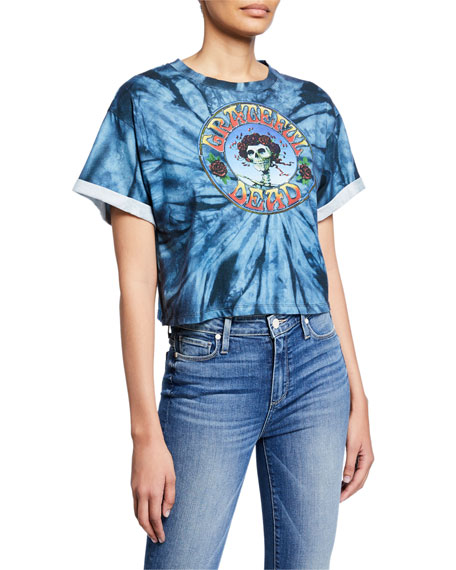 ALICE + OLIVIA JEANS Tommy Grateful Dead Oversized Roll-Sleeve Crop Tee