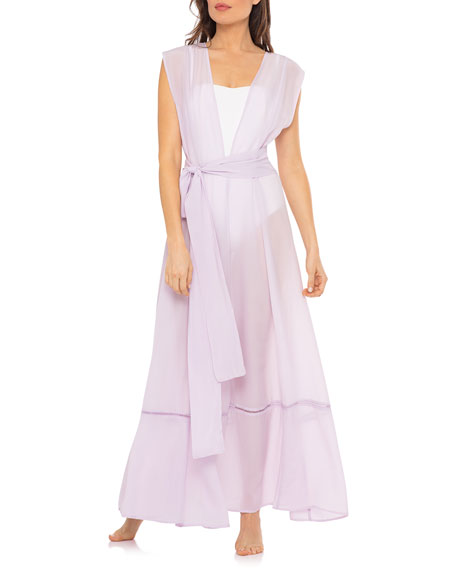 Image 2 of 4: Audrey Open-Front Crepe Sleeveless Coverup