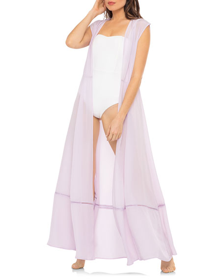 Image 3 of 4: Audrey Open-Front Crepe Sleeveless Coverup