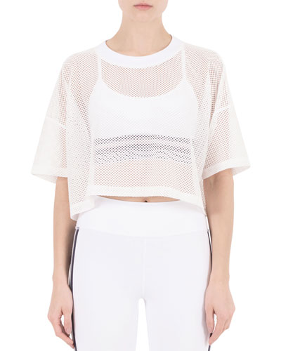 Lissy Short-Sleeve Mesh Crop Top