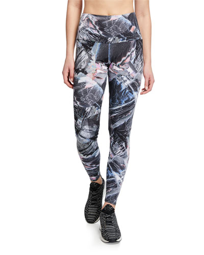 High-Rise Abstract Printed Active Leggings